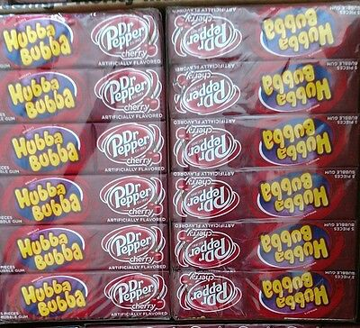 2 Cases Of Hubba Bubba Bubblegum DR PEPPER CHERRY Gum 36 Packs 180 Pieces 8/2017