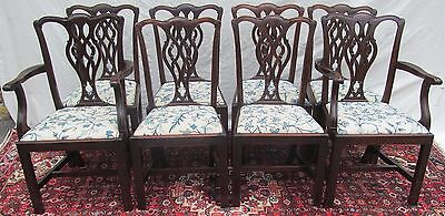 Set Of 8 Chippendale Style Antique Mahogany Dining Chairs ~~ Chain Stitch Seats