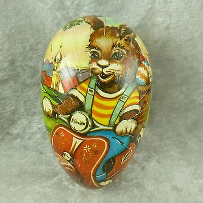 Vtg Paper Mache Easter Egg Candy Container Bunny Rabbit on Scooter Vespa Germany