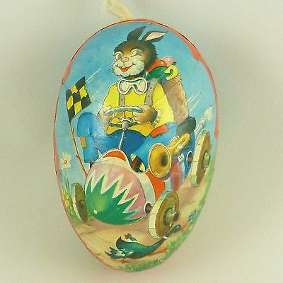 """Vintage Paper Mache Easter Egg Candy Container Rabbit in Race Car Germany 3.5"""""""