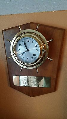Nautical Ships Bell Wheel Brass Clock Germany ~ Navy Officer award 1973