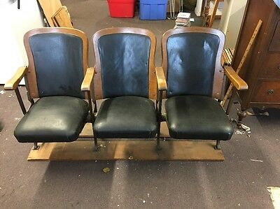 Antique Vintage Set Of 3 Folding Theatre Seats From Stratford CT Theatre Chairs