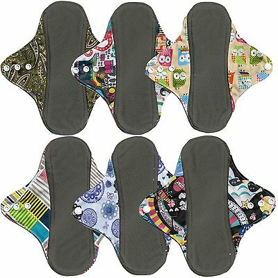 EarthyPads 6 Reusable Menstrual Pads Cloth Washable Pads Light Medium Flow 23cm