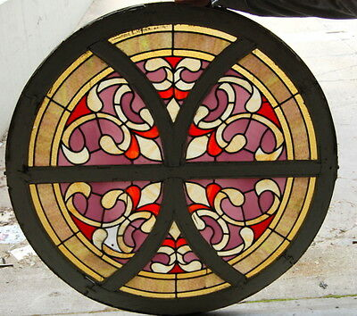 Original Antique 1900s Round Stained Glass Window, Architectural Salvage