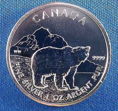 2011 Canada Wildlife Grizzly 1 Ounce .9999 Silver Coin in Air-tite
