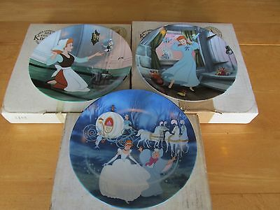 Set of 3 Beautiful Knowles Cinderella Collector Plates: Scenes From Disney Movie