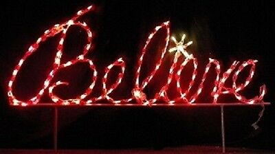 """Believe"" Christmas Phrase Sign Outdoor LED Lighted Decoration Steel Wireframe"