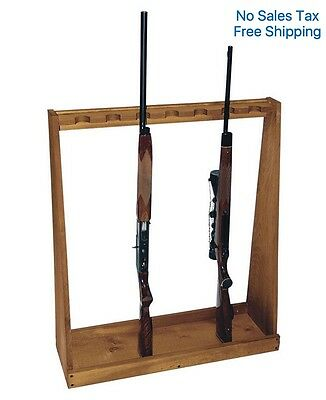 Evans Sports Standing Rifle Rack Vertical Gun Shotgun Stand Storage Display Wood