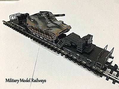 N Gauge Military WW2 Minitrix Well Wagon German Hummel SPG (Metal) (MMR80)