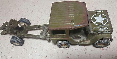Vintage Buddy L army jeep with cannon toy made in Japan
