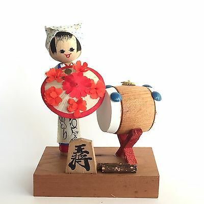 14.2cm  Kokeshi Japan Antique Wooden Doll No.HFe22