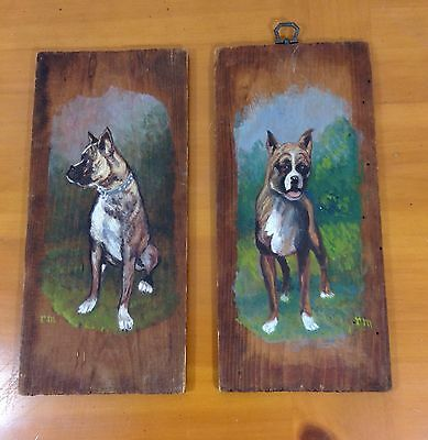 Vintage Boxer Dog Portraits Hand Painted Rustic Wooden Plaques Pair Of Two