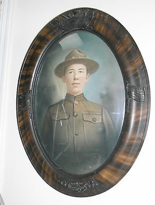 World War One Photo of Doughboy Soldier in Oval Bubble Frame-Frame has Flags & C