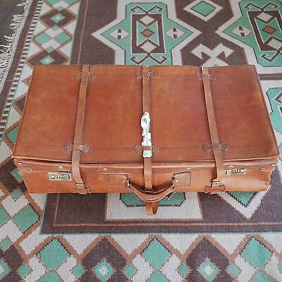 Old Genuine Leather Suitcase Large Great Piece Good Quality