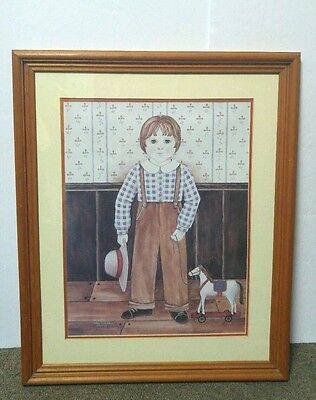 Nita Showers A Boy With A Hat Framed Print  Matted 18x22 Amish Primitive 1984