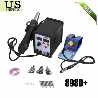 2 in 1 Soldering Rework Stations SMD Hot Air & Iron Gun Desoldering Welder 898D+