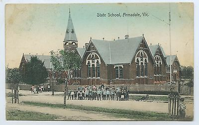 C1910 Pt Npu Postcard State School Armadale Vic Local Photo H S Lock E47