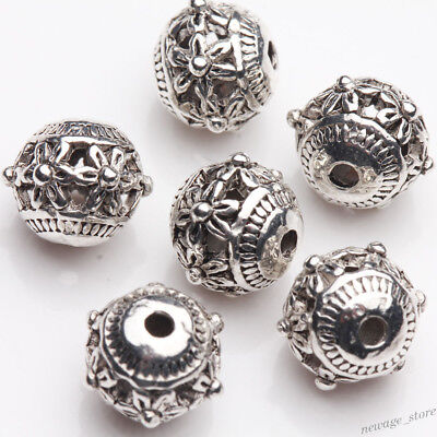 20Pcs Tibetan Silver Charms Carved Flower Loose Spacer Beads Jewelry Making DIY