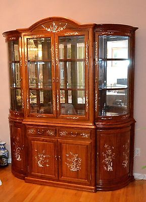 Curio China Cabinet with mother-of-pearl inlay