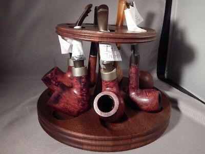 Vintage Lot of Gentleman's Smoking Pipes and Stand/ Most From Italy