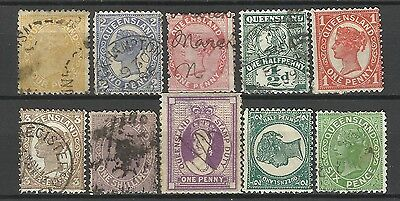 QUEENSLAND Collection 10 Different COLONIES STATES Stamp Used (Lot 10)