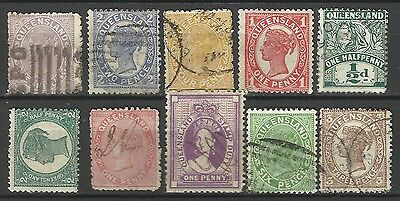 QUEENSLAND Collection 10 Different COLONIES STATES Stamp Used (Lot 8)
