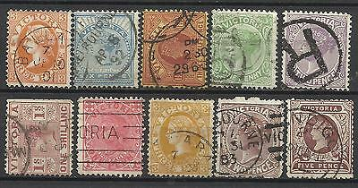 VICTORIA Collection 10 Different COLONIES STATES Stamps Used condition (Lot 6)