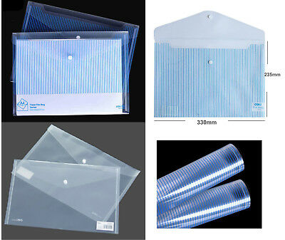A4 Clear Plastic File Folder Stud Wallet Document Paper Storage Quality Eco
