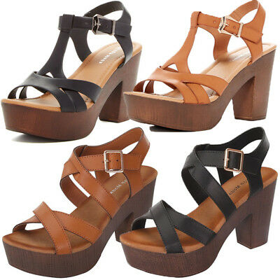 New Chunky Wooden High Heel Strapy Women Peep Toe Open Platform Party Sandal