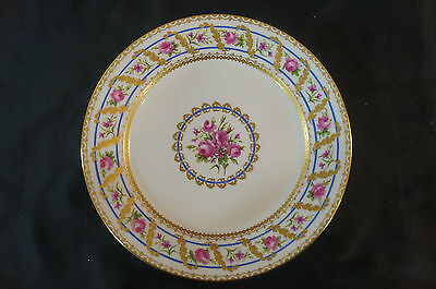 Pair of Hand Painted Sevres Pink Rose & Gold Gilt Plates Circa 1892 Signed HP