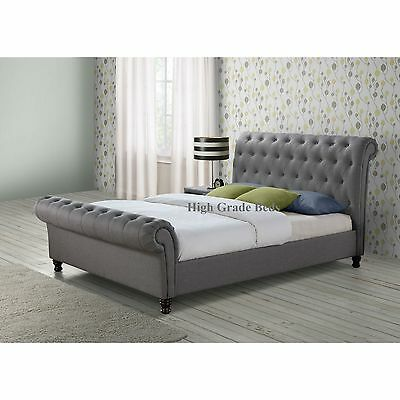 Chesterfield Sleigh Upholstered Bed Frame Chenille Fabric Double & King Sale!!!!