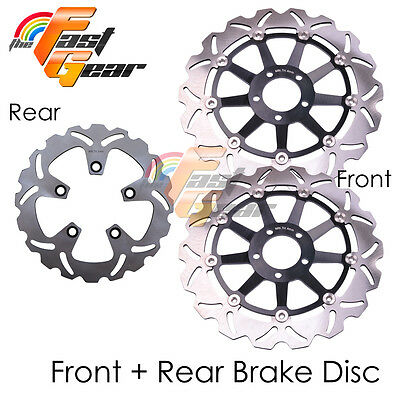 Front Rear SS Brake Disc Rotor Set For Kawasaki ZXR 750 L1 L2 L3 93 94 95
