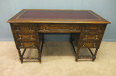 Jacobean Style Antique Oak  Leather Topped Desk Circa 1910 -1920 Desk