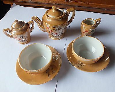 Vintage Toy Japanese China Tea Set with  flower Pattern