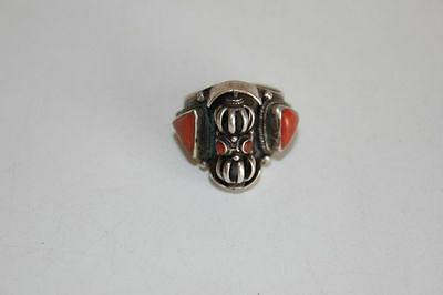Chinese Vintage Silver and Coral Men's Ring
