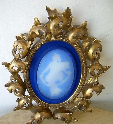George Thomas Webb?Florentine Gilt Bronze Dore Framed Large Glass Cameo Plaque O