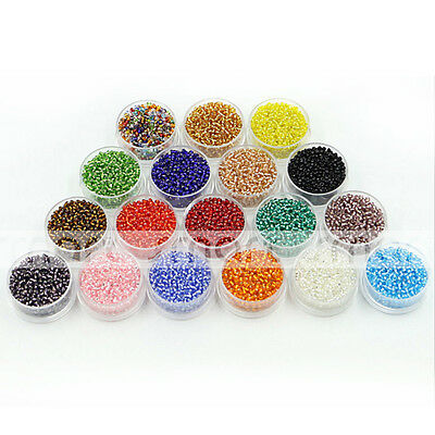 1000/2000pcs Mixed Colour Synthetic Crystal Gemstone Seed Shape Loose Beads 2mm