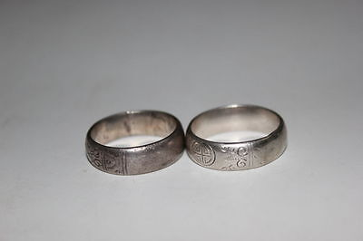 Pair Antique Chinese Silver carved Men's Ring
