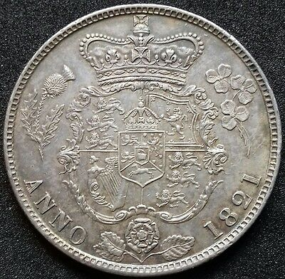 1821 Half Crown. S3807. Good Extremely Fine. Small Edge Bump.