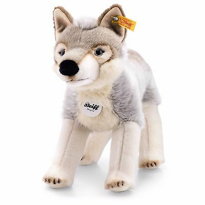 Steiff Animal Snorry Wolf Grey White Cuddly Soft Plush 32cm 069246 RRP£75 NEW