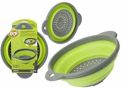 Folding Colander With Hanging Loop Green Camping Picnic Modern Kitchen