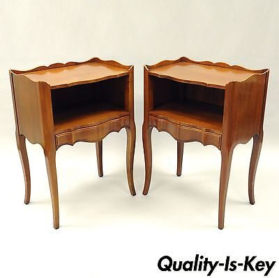 Pair of John Widdicomb Country French Provincial Nightstands Cherry End Tables B