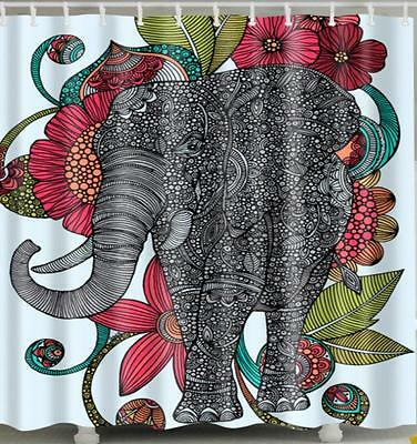 Indian Elephant Jewels & Flowers Bathroom Shower Curtain Polyester Hooks