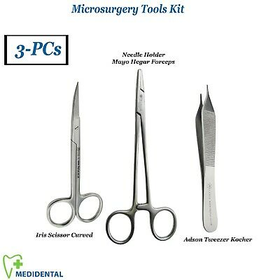 Surgical Suture Removal Pack of 3 Tools Needle Holder Mayo Hegar Stitch Scissors
