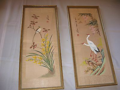 Chinese Paintings on Silk A Pair (2 Cranes &1 asian paradise bird)