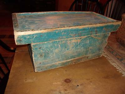 Early AAFA Antique Primitive Box WELL TOP Drawer Drysink OLD BLUE PAINT!