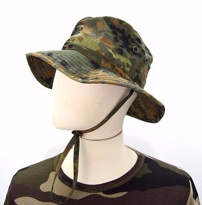 German Army Flecktarn Bush Hat Camo Camouflage Original Boonie Sun Jungle Hat