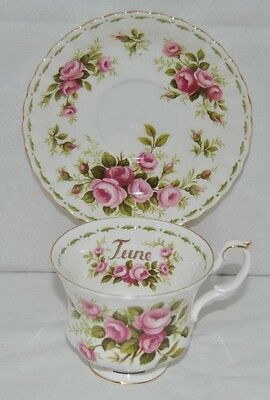 """Royal Albert, Flower of The Month """"Roses"""" """"June"""" Bone China, Tea Cup and Saucer"""