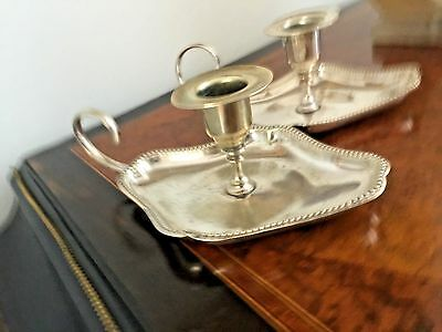 Antique Pair Of Silver Plated Candle/Chamber Stick, Beautifully Shaped.