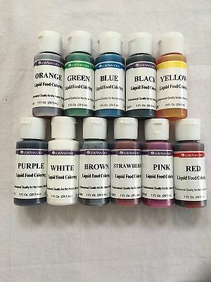 Lorann Oils Liquid Food Coloring ALL COLORS Set Of 11 - 1 oz Bottles FREE SHIP